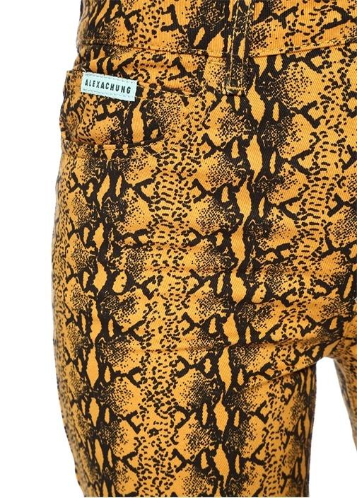 Sarı Siyah Yılan Derisi Desenli Pantolon