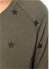 Haki Yıldız Desenli Reglan Kol Sweatshirt