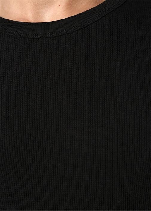 Siyah Bisiklet Yaka Dokulu Uzun Kollu T-shirt