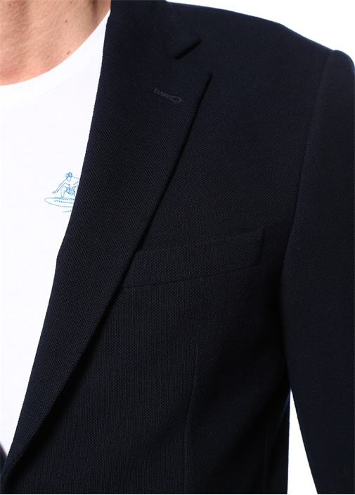 Lacivert Kelebek Yaka Dokulu Jersey Ceket