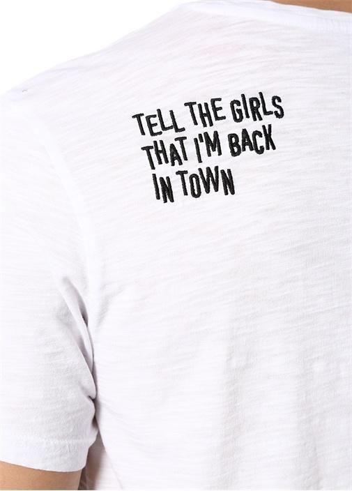 Beyaz Melanj V Yaka Basic T-shirt