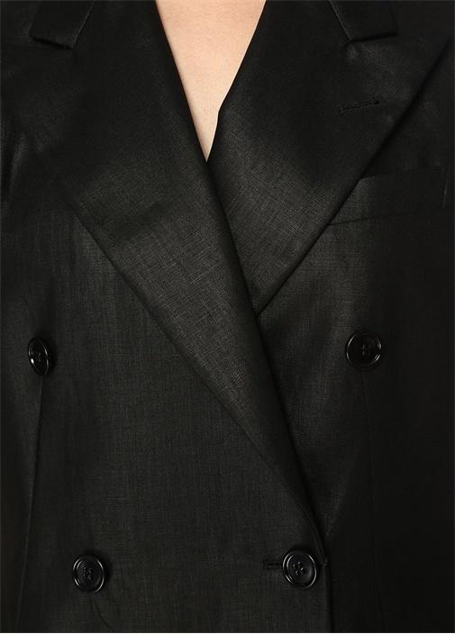 Butrio Siyah Kırlangıç Yaka Düğmeli Kruvaze Yelek