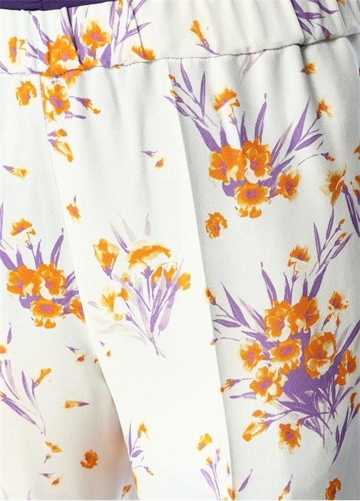 Palmira Ekru Çiçek Desenli Dar Paça Pantolon