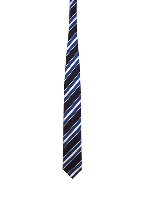 Lacivert Verev Çizgili İpek Kravat