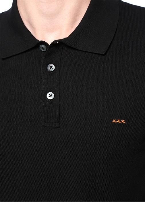 Siyah Polo Yaka Logo Nakışlı Triko