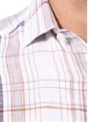 Turuncu Beyaz Ekose Desenli Keten Gömlek