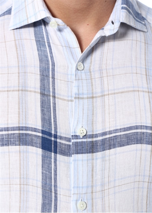 Mavi Beyaz Ekose Desenli Keten Gömlek