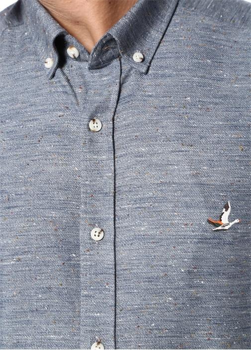 Comfort Fit Mavi Düğmeli Yaka Nopeli Gömlek