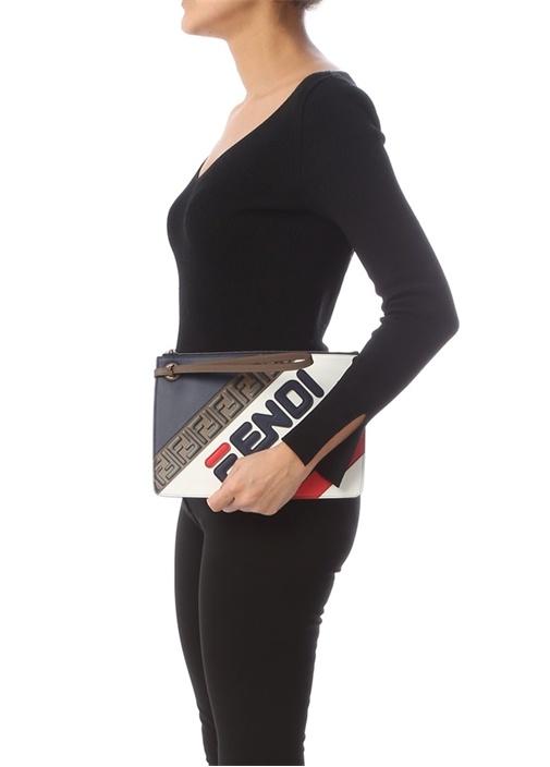Fendi Mania Lacivert Logolu Kadın Deri El Portföyü