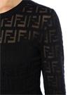 Lacivert Transparan Logo Motifli Midi Triko Elbise