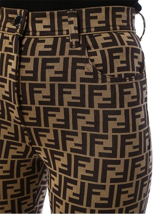 Kahve Siyah Yüksek Bel Logo Motifli Jarse Pantolon
