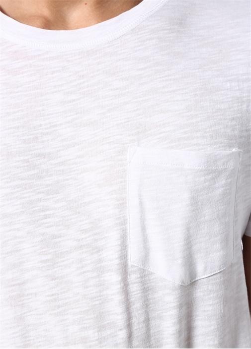 Beyaz Bisiklet Yaka Cepli Basic T-shirt