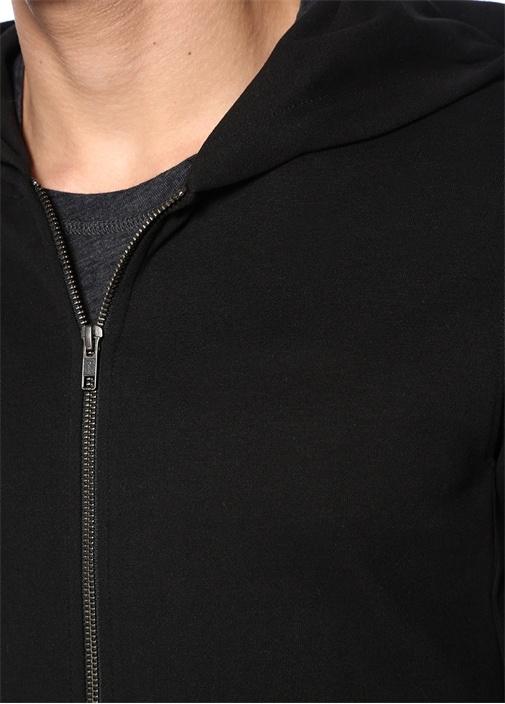 Siyah Kapüşonlu Sweatshirt