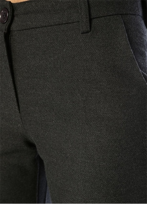 Antrasit Normal Bel Bol Paça Crop Pantolon