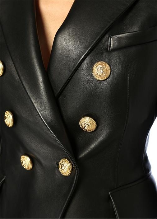 Siyah Kırlangıç Yaka Gold Düğmeli Deri Ceket