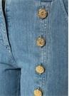 Yüksek Bel Gold Düğme Detaylı Bol Jean Pantolon