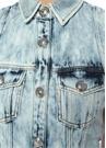 Yıpratma Detaylı Kolsuz Mini Denim Elbise