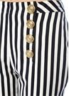 Lacivert Beyaz Çizgili Gold Düğmeli Crop Pantolon
