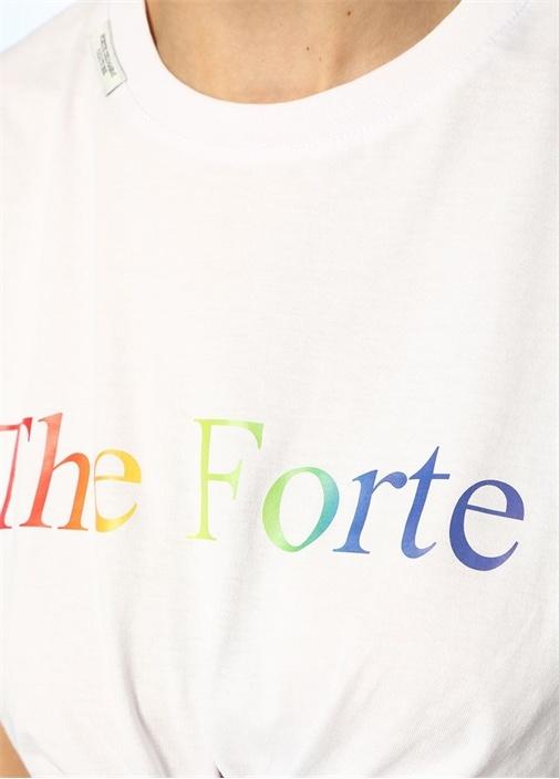 The Forte Beyaz Önü Düğümlü Crop T-shirt