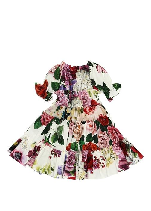 Beyaz Çiçek Baskılı Fırfırlı Kız Bebek Elbise