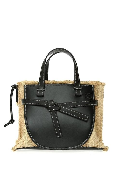 Loewe Gate Bej Siyah Kadın Hasır Omuz Çantası – 14750.0 TL