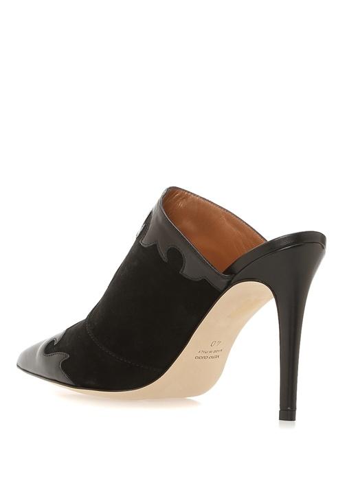 Siyah Desenli Garni Detaylı Deri Topuklu Ayakkabı