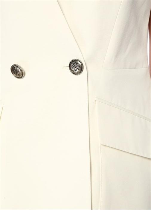 Beyaz V Yaka Düğmeli Kruvaze Yelek