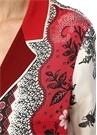 Ade Ekru Kırmızı Kelebek Yaka Desenli İpek Gömlek