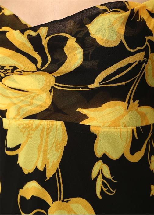 On And Off Siyah Sarı Degajeli Çiçekli Midi Elbise