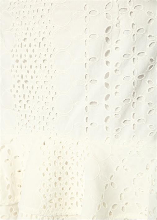Solstice Beyaz Volanlı Mini Güpür Dantel Etek