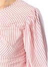 Close Enough Kırmızı Beyaz Çizgili Balon Kol Bluz