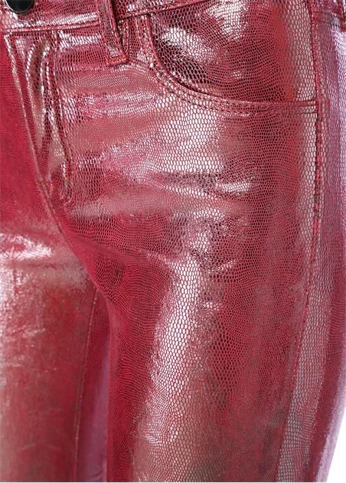 Selena Pembe Normal Bel Boot Cut Deri Pantolon