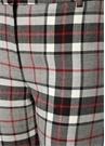Gri Yüksek Bel Ekose Desenli Yün Pantolon