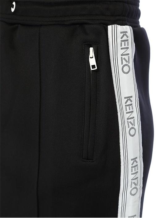 Siyah Beyaz Yanı Şeritli Logo Baskılı Mini Etek