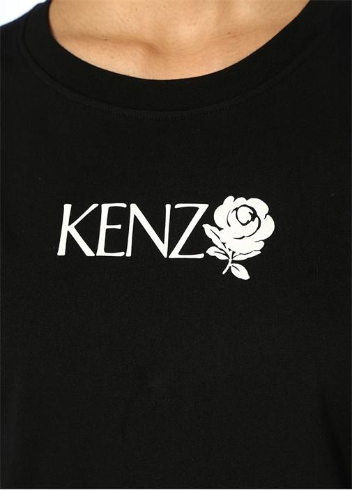 Roses Siyah Bisiklet Yaka Logo Baskılı T-shirt
