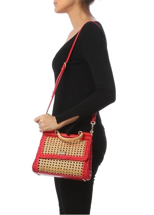 Sicily Medium Bej Kırmızı Kadın Omuz Çantası