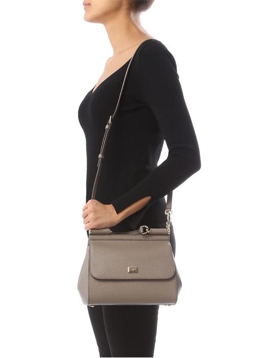 Sicily Vizon Logolu Kadın Deri Çanta