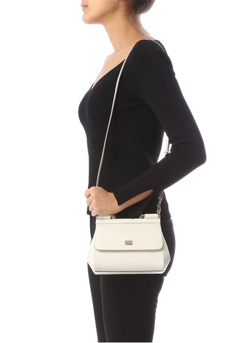 Sicily Beyaz Logolu Kadın Deri Çanta