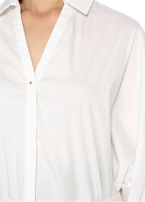 Beyaz Beli Jarse Bağcık Detaylı Poplin Gömlek