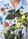Mavi Kamp Yaka Kuş Ve Yaprak Baskılı Gömlek