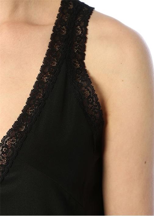 Siyah V Yaka Dantel Garnili Midi İpek Elbise