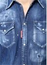 Lacivert Polo Yaka Yıpratmalı Denim Gömlek