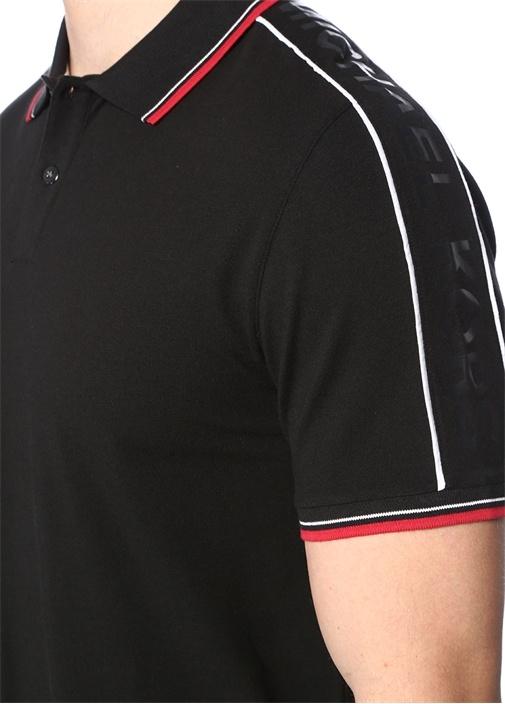 Siyah Polo Yaka Logolu Şerit Detaylı T-shirt