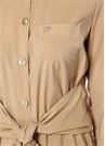 Nata Bej Sivri Yaka Bağcıklı Midi Gömlek Elbise