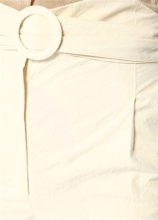 Marie Ekru Yüksek Bel Kemerli Bol Paça Pantolon