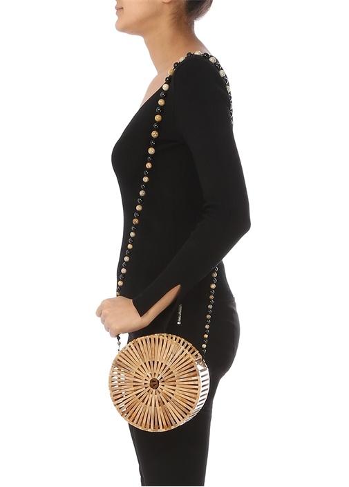 Luna Bej Boncuklu Omuz Askılı Çubuklu Kadın Çanta