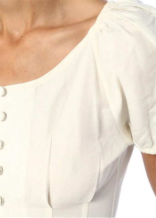 Charlotte Beyaz Çift Yırtmaçlı Keten Midi Elbise