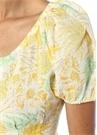 Charlotte Sarı Yaprak Baskılı Keten Midi Elbise