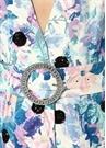 Mavi V Yaka Çiçekli İşlemeli Kemerli Midi Elbise