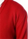 Kırmızı V Yaka Arkası Şeritli Kutu Formlu Kazak